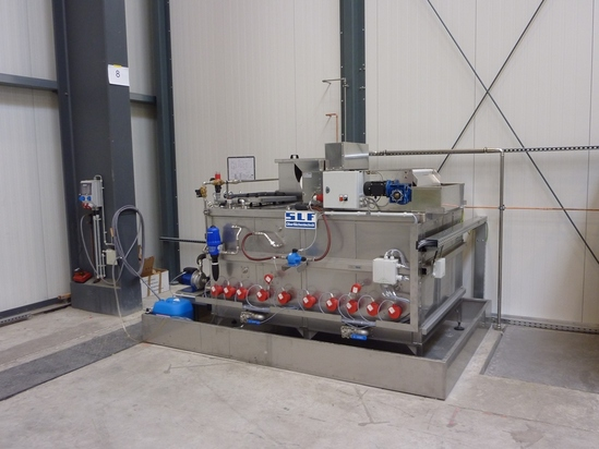 Process water treatment unit in stainless steel design