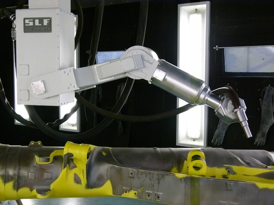 Media blast robot for paint-stripping of landing gear
